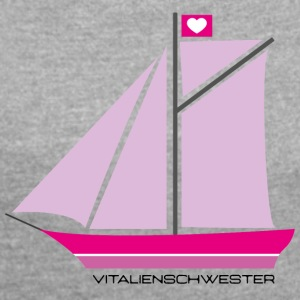 PIRATES HEART - Dame T-shirt med rulleærmer