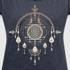 Flower of life, sacred geometry, amulet, yoga, - Women's T-shirt with rolled up sleeves