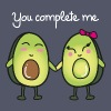 You Complete Me (Avocado) - Frauen T-Shirt mit gerollten Ärmeln