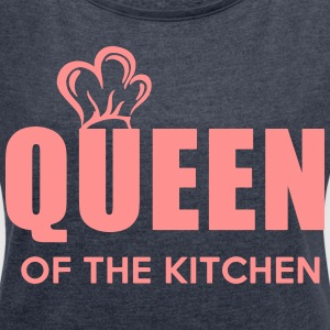 Queen of the Kitchen - Dame T-shirt med rulleærmer