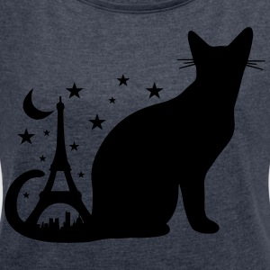 The Black Cat Romantic - Women's T-shirt with rolled up sleeves