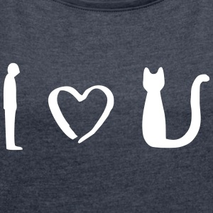 Cats Love / Cat Love / Pet - Women's T-shirt with rolled up sleeves