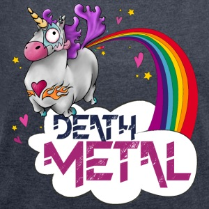 Death Metal Unicorn - T-skjorte med rulleermer for kvinner