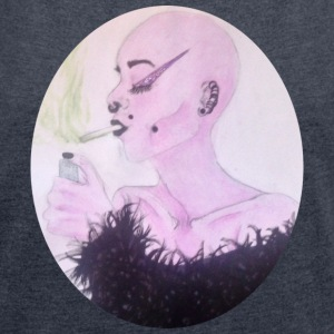 Smoking girl 2 - Women's T-shirt with rolled up sleeves