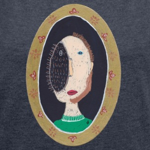 vincent design arthurine man oval hedgehog - Women's T-shirt with rolled up sleeves