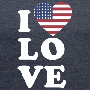 I love USA - Women's T-shirt with rolled up sleeves