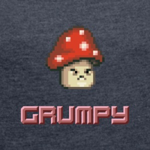 Pixel Grumpy Mushroom - Women's T-shirt with rolled up sleeves