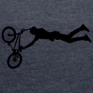 Jumping BMX / Bike Design for skaters and bikers - Women's T-shirt with rolled up sleeves