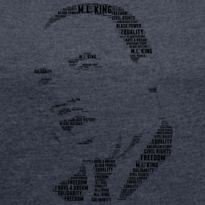 martin luther king stencil word cloud - Women's T-shirt with rolled up sleeves