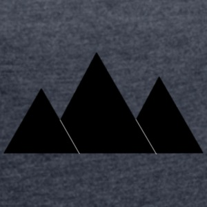 Sort Mountains clipart - Dame T-shirt med rulleærmer