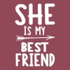 She is my best friend - left - Women's T-shirt with rolled up sleeves