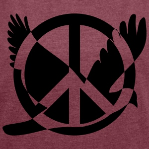 Peace symbol with dove - Women's T-shirt with rolled up sleeves