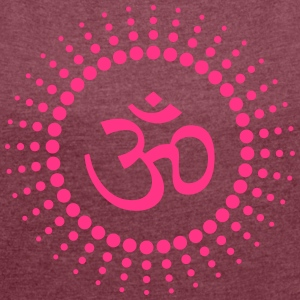 Om Point Sun - Women's T-shirt with rolled up sleeves