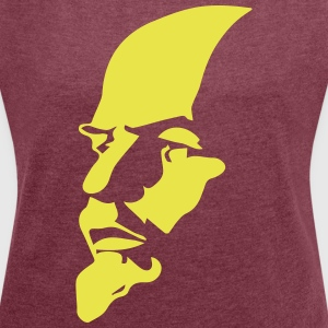 Portrait of Communist Lenin - Women's T-shirt with rolled up sleeves