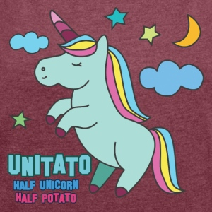 Einhorn: Unitato - Half Unicorn and Half Potato - Frauen T-Shirt mit gerollten Ärmeln