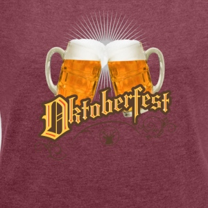 Oktoberfest vintage beer garden humpen prost wiesn - Women's T-shirt with rolled up sleeves