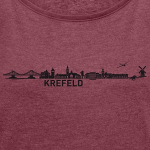 Krefeld skyline - Women's T-shirt with rolled up sleeves