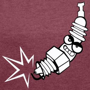 Spark plug comic with face - Women's T-shirt with rolled up sleeves