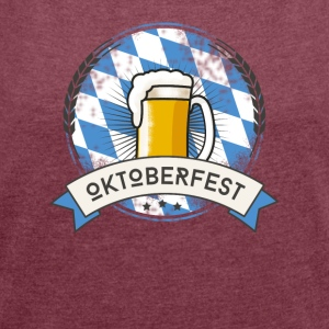 Oktoberfest Prost beer craft beer garden beer glass - Women's T-shirt with rolled up sleeves