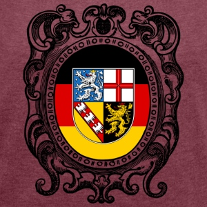 Saarland coat of arms - Women's T-shirt with rolled up sleeves