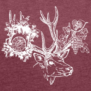 Black Forest hart, clock, grapes - Women's T-shirt with rolled up sleeves