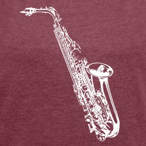 saxophone - Women's T-shirt with rolled up sleeves