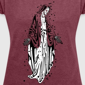 Skeletal madonna - Women's T-shirt with rolled up sleeves