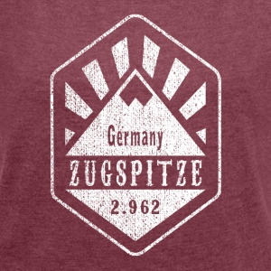 Zugspitze coat of arms - white - Women's T-shirt with rolled up sleeves
