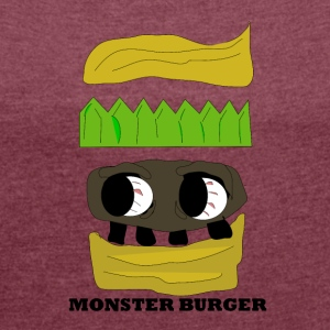 MONSTER BURGER - Dame T-shirt med rulleærmer