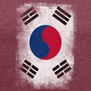 South Korea Flag Proud Korean Vintage Distressed - Women's T-shirt with rolled up sleeves