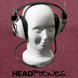 HEADPHONES MUSIC - Women's T-shirt with rolled up sleeves