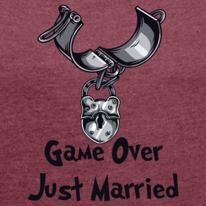 Game Over Just Married - Vrouwen T-shirt met opgerolde mouwen
