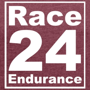 Race24 Logo - White - Women's T-shirt with rolled up sleeves