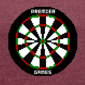 premier games pixelated dartboard - Frauen T-Shirt mit gerollten Ärmeln