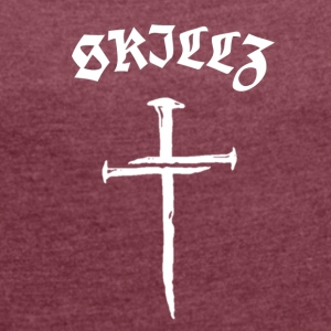 GHETTO CROSS [S GANG] - Frauen T-Shirt mit gerollten Ärmeln