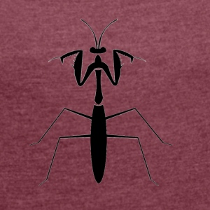 praying mantis - Women's T-shirt with rolled up sleeves