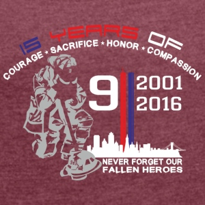 9/11 Ground Zero 15 Years Anniversary - Frauen T-Shirt mit gerollten Ärmeln