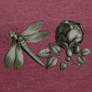 Dragonfly and Flower - Vrouwen T-shirt met opgerolde mouwen