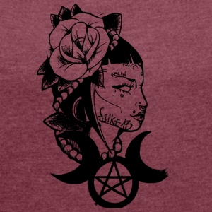 witch_Psike13 poética - Camiseta con manga enrollada mujer