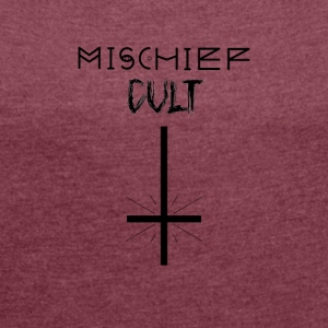 Mischief Cult | Upside Cross Conception descendante | occulte - T-shirt Femme à manches retroussées