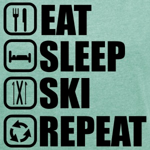 Eat sleep ski - Women's T-shirt with rolled up sleeves