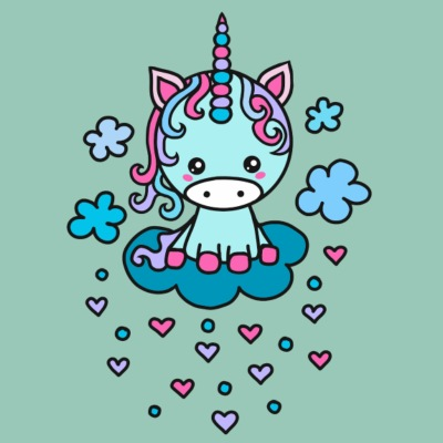 Cute Unicorn clouds, heart, kawaii, anime, manga