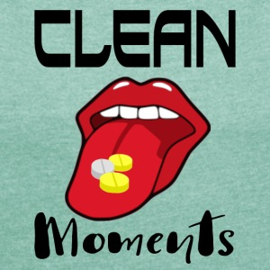 CLEAN MOMENTS - Frauen T-Shirt mit gerollten Ärmeln
