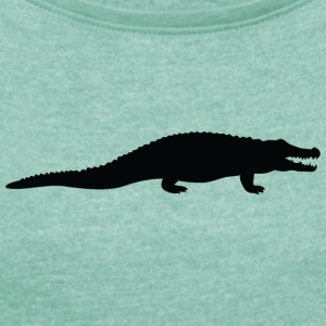 A Dangerous Crocodile - Women's T-shirt with rolled up sleeves