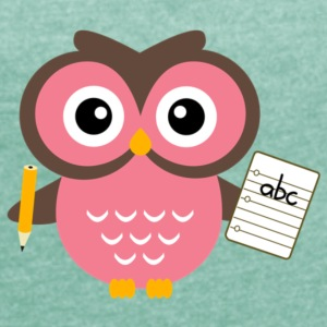 Back to School Owl - Women's T-shirt with rolled up sleeves