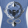 Symbols of Hecate, moon goddess. Owl and snakes. - Women's T-shirt with rolled up sleeves