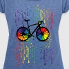 rainbow bicycle raindrops - Women's T-shirt with rolled up sleeves