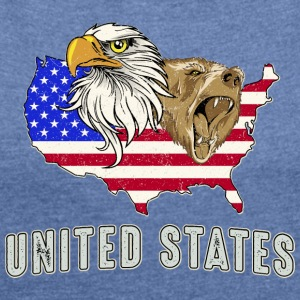 USA Adler eagle grizzly beer America America - Vrouwen T-shirt met opgerolde mouwen