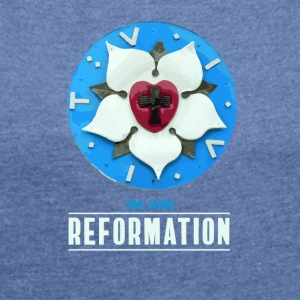 Luther rose Reformation 500 church day theses bete - Women's T-shirt with rolled up sleeves