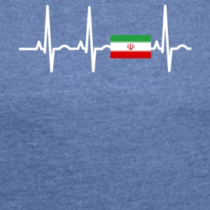 ECG heartbeat IRAN - Women's T-shirt with rolled up sleeves